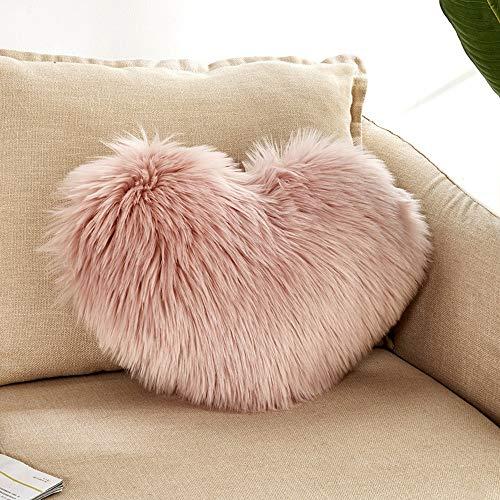 jieGREAT Heart Shaped Throw Pillowcase Cushion Cover Plush Pillows Case Gift Home Sofa Decoration