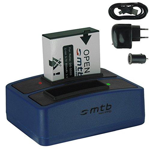 Batería + Cargador doble (USB/Coche/Corriente) para Rollei DS-SD20 / Bullet 3S, 5S (WiFi) / AEE, Actionpro, BeastVision, Astak ...