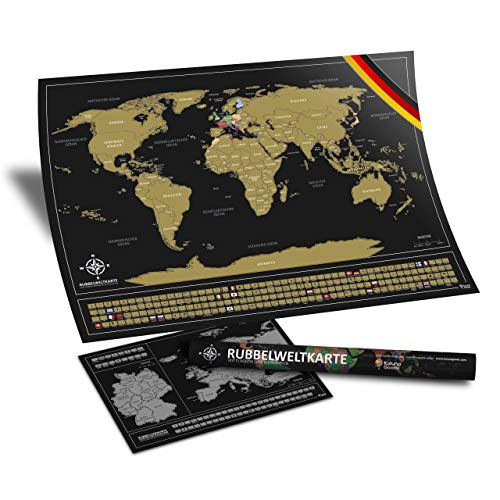 Kalunagoods Rubbel Weltkarte (Deutsch) - 84 x 58 cm Landkarte mit Flaggen zum Rubbeln + A3 Bonus Europa Rubbelkarte - XXL Poster zum Freirubbeln in Schwarz/Gold, inkl. Geschenk-Verpackung