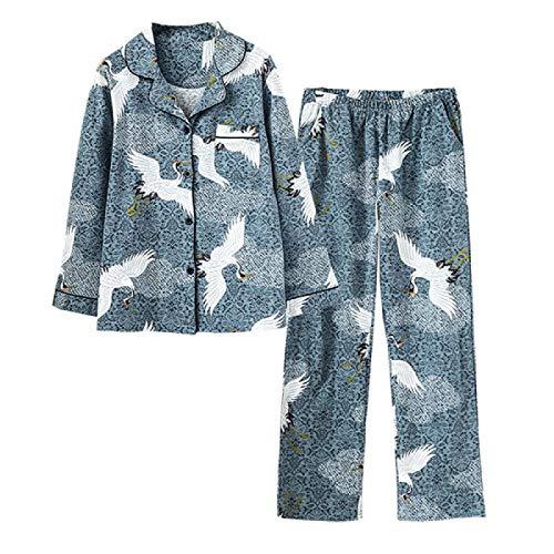 2 Piezas de Pijamas de Mujer con grúa, Conjunto de algodón con Solapa de Animales, Elegante Solapa de impresión, Suave, Manga Larga, Primavera otoño, Ropa de Dormir, A, XL