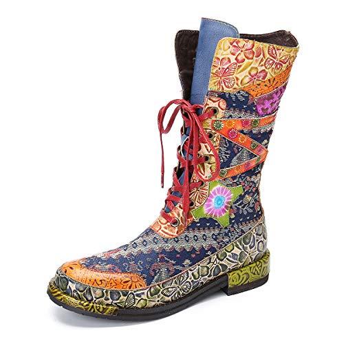 gracosy Stiefel Damen, Flache Stiefel mit mittlerer Wade Warme Gefüttert Winterstiefel rutschfest Winterschuhe Bohemien Blume Spleißen Stiefelletten Reißverschluss Schnürstiefel