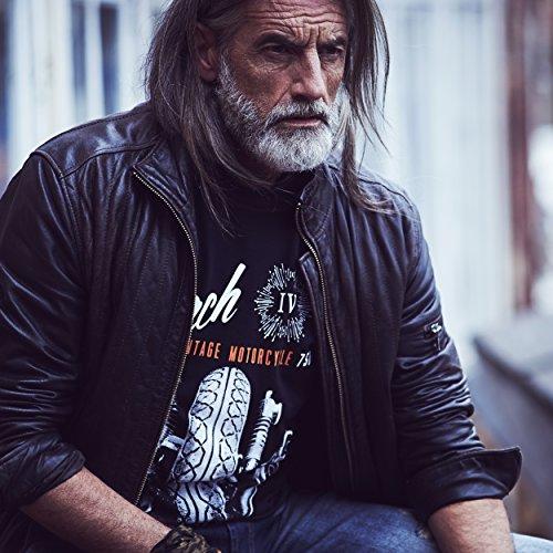 MAKAYA Camisetas Moteras - Vintage Moto Mach 4 Hombre Negro S
