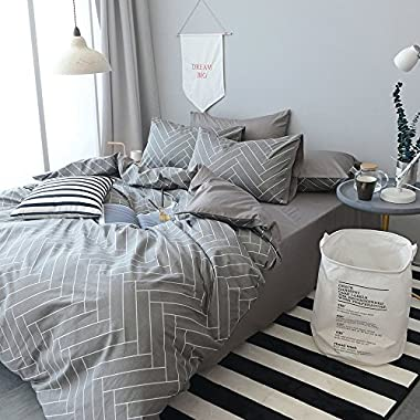 HIGHBUY Super Soft 3 Piece King Duvet Cover Set Grey 100% Natural Cotton Striped Bedding Sets Geometric Pattern Comforter Cover For Boys Men Lightweight Breathable and Comfortable (No Comforter)