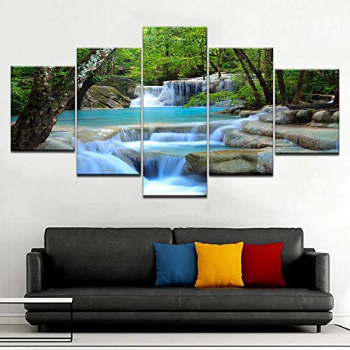 WFUBY 5 Pieces Canvas Prints Decorative Paintings Poster Large Canvas Wall Art Waterfall Painting Feng Shui Decorating HD Print for Home Living Room Decoration Bedroom Home Decor New Year