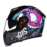 YLXD Casco De Moto Integrado, Casco Integral ECE Homologado Casco de Moto de Carreras Moto Abatible Casco Integral para Mujer Hombre Adultos A,M