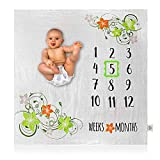 "Organic Bamboo Baby Milestone Blanket - Photo Prop for Yearly, Monthly or Weekly Pictures, Girl or Boy, Bamboo Cotton Muslin Swaddle Month Blankets, Personalized Shower Gifts, Large 47"" X 47"""