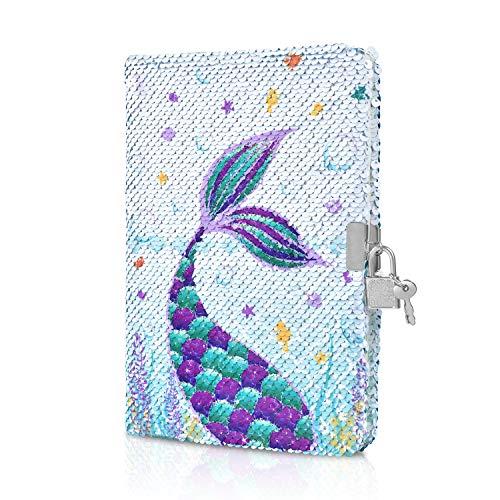 WERNNSAI Pailletten Notebook - Reversible Meerjungfrau Journal für Mädchen Erwachsene A5 Reise Schule Büro Tagebuch Notizblock Schulhefte mit Schlössern und Schlüsseln
