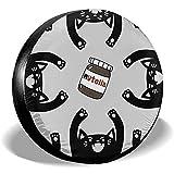 AllenPrint Wheel Tire Cover,Cubiertas De Llantas De Repuesto Personalizadas Nutella Chocolate Black Cat Abstractas para Ruedas De Camiones RV Car 76-79cm