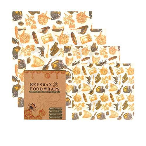OYUNKEY Bienenwachs-Wraps 2er-Set, Bienenwachstücher, backpapier wiederverwendbar Beeswax Cloth for Food Wrap Set Handmade, für natürliche Lebensmittelaufbewahrung, Käse- und Sandwich-Verpackungen