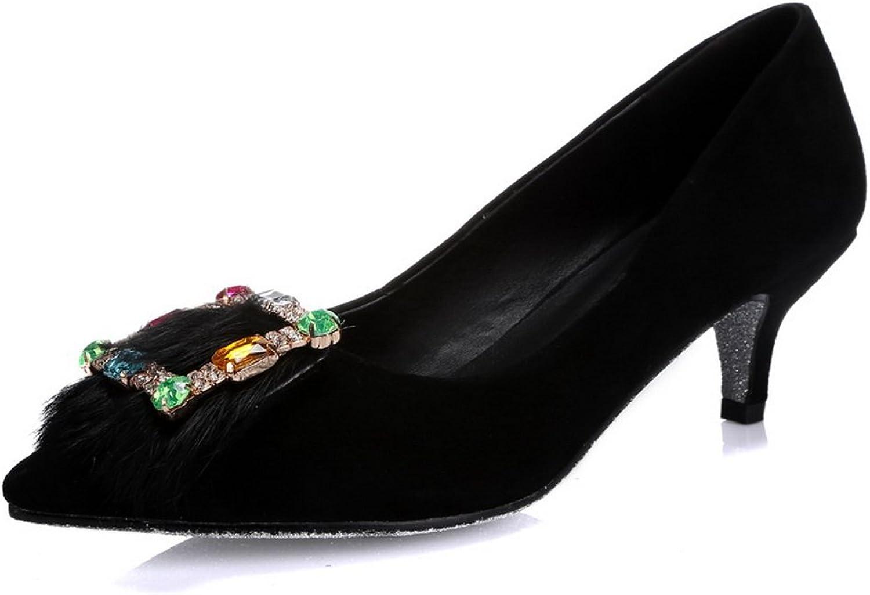 AdeeSu Womens Formal Pointed-Toe Rhinestones Pleather Pumps shoes SDC04353