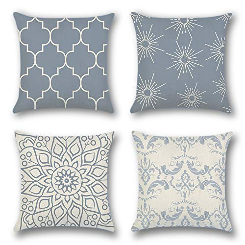 Artscope Throw Pillow Case Cushion Covers 45 x 45 cm Cotton Linen Square Decorative Pillow Covers for Sofa Car Bedroom Indoor Outdoor, Set of 4 (Geometric Pattern Grey - A)