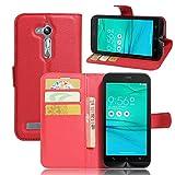 Guran PU Ledertasche Hülle für Asus Zenfone Go ZB500KL Smartphone Flip Cover Kartenfach Wallet & Stent-Funktions Handyhülle Business Style Etui - Rot