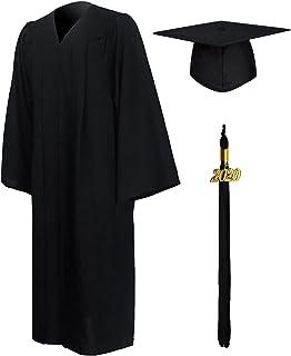 Matte Graduation Gown Cap Tassel Set 2020 for High School and Bachelor
