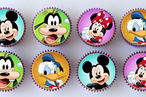 Decoración comestible para tarta con diseño de Mickey Mouse y personajes 24 precortados