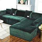 FLYAWAY Felpa sofá cubierta de terciopelo elástico esquina de cuero seccionales 2seater 145185cm