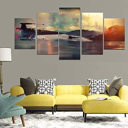 5 stuks canvas kunst aan de muur schilderen, moderne creatieve vechter vliegen boven zeeniveau wall art foto's, woonkamer slaapkamer kantoor decoraties,Without frame,30x50/70/80cm