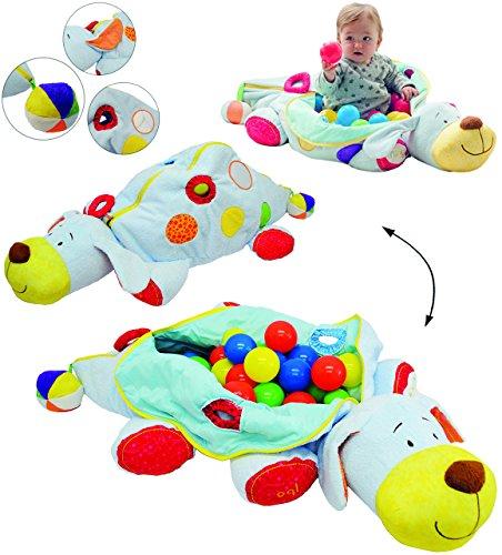 alles-meine.de GmbH XL Set _ Kuschel & Spiel & Motorikspielzeug -  Bällepool - Hund + 60 Stück Bälle  - für Baby´s & Kinder - Plüsch Tier mit Spieleffekten - Bällebad / Ball - ..
