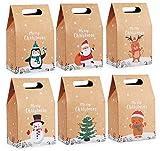 agoer lot de 24 sacs cadeaux de noël en papier kraft pour décoration de noël, boite cadeau vide 6