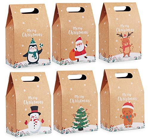 Agoer Kraftpapier Geschenktüten mit Griff, 24 Stück Weihnachten Papiertüte Geschenktaschen - Weihnachtstüten Schokolade SüßIgkeiten Organizer Geschenkbox für Weihnachts Geburtstag 16 x 9.8 x 6 cm