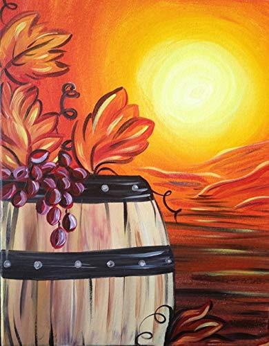 Pintar por Numeros Vino de uva para Adultos Niños Principiantes,con Pinceles y Pinturas Decoraciones DIY Hogar 16 * 20 Pulgadas Sin Marco