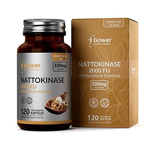 GH Nattokinase Kapseln | 120 Vegan Kapseln | Proteolytischen Enzyme aus Natto | Fermentierte Sojabohnen | Blutverdünner und Entzündungshemmende Tabletten | GVO und Glutenfrei | Gentechnikfrei