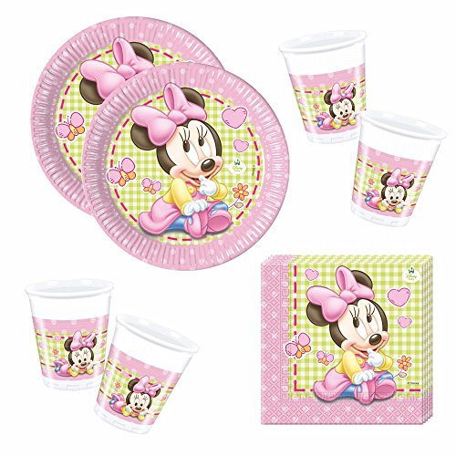 Minnie Set de Vaisselle Jetable Baby Mouse | Assiettes Tasses Serviettes