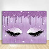 Felizotos Purple Lash Backdrop Glitter Drops Lashes Make Up Background Girls Spa Party Birthday Party Makeup Banner Pajama Photography Studio Props