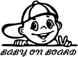myrockshirt® Aufkleber Baby on Board Junge Kappe 17 cm Autoaufkleber Auto Sticker Lack Heckscheibe Baby Bord aus Hochlei