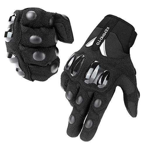 kemimoto Summer Motorcycle Gloves Men Women, Riding Moto Touchscreen Motocross Dirt Bike Bicycle Motorcycling Gloves Outdoor Driving ATV Off-Road Hard Knuckle Powersports Breathable Gloves (Black, L)
