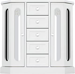 RR ROUND RICH DESIGN Jewelry Box - Made of Solid Wood with Cabinet Type 5 Drawers Organizer and 2 Separated Open Doors on 2 Sides and Large Mirror White