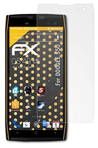 atFolix Panzerfolie kompatibel mit DOOGEE S50 Schutzfolie, entspiegelnde & stoßdämpfende FX Folie (3X)