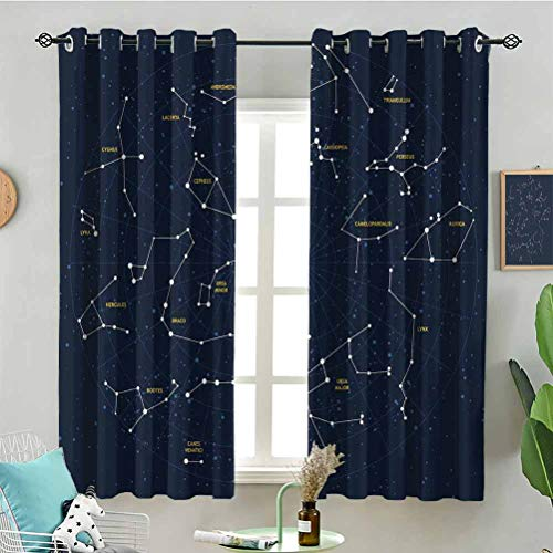 Blackout Window Curtain Sky Map Andromeda Lacerta Cygnus Lyra Hercules Draco Bootes Lynx W63 x L45 Inch (2 Panels) for Indoor Living Dining Room Bedroom