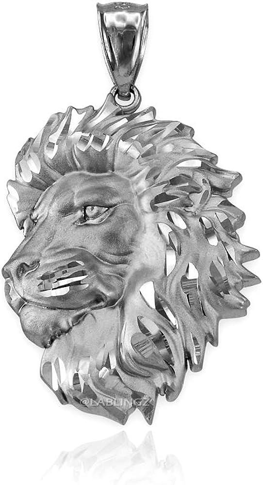 LA BLINGZ 14K White Gold Satin Lion Head Leo DC Pendant Necklace