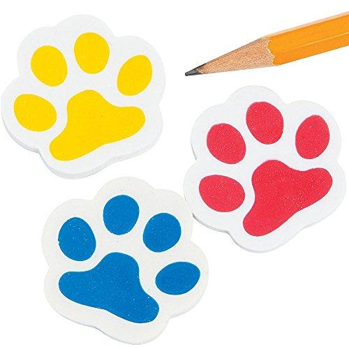 Elfen und Zwerge 6 x Pfoten Radiergummi Radierer mit Pfotenabdruck Hund Katze Tatze als Mitgebsel für den Kindergeburtstag