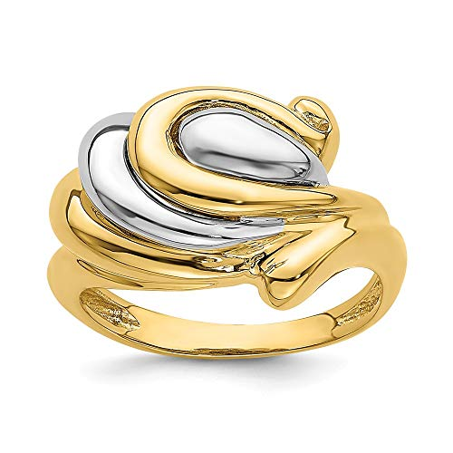 Anillo de oro amarillo de 14 quilates con forma de herradura de dos tonos para mujer
