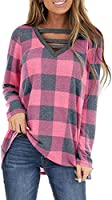 WMZCYXY Women's Plaid Criss Cross V Neck Long Sleeve Tunics Tops Casual Cute Pullover Fall Shirts