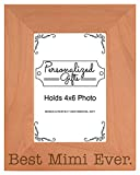ThisWear Birthday Gift for Grandma Best Mimi Ever Natural Wood Engraved 4x6 Portrait Picture Frame Wood