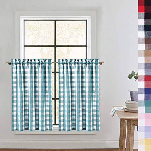 CAROMIO Buffalo Check Kitchen Curtains 36 Inches Length, Buffalo Plaid Gingham Tier Curtains for Kitchen Cafe Curtains Bathroom Window Curtain, Teal/White