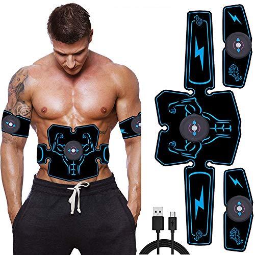 Q&N Estimulador Abs Recargable Músculos Abdominales Cinturones tonificadores Entrenador EMS Gimnasio Entrenamiento y aparatos de Ejercicios para el hogar para Hombres Mujeres