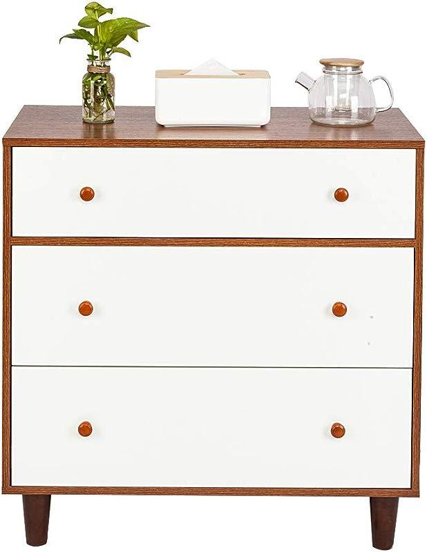 3 Drawer Dresser Kids Bedroom Dresser Wood And Composite Construction Ideal For Family Room Bedroom Living Room Walnut Color White