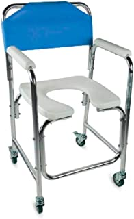 Silla WC, Reposabrazos, Aluminio, Ruedas, Azul, Manzanares, Mobiclinic