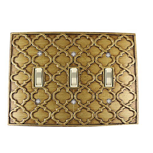 Meriville Moroccan 3 Toggle Wallplate, Triple Switch Electrical Cover Plate, Antique Gold