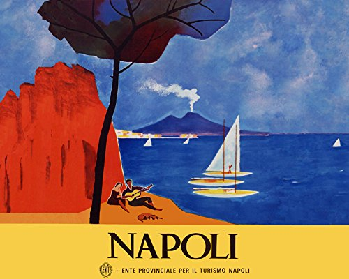 "16"" X 20"" Italy Napoli Naples Playing Guitar Italia Italian Travel Tourism Vintage Poster Repro Standard Image Size for Framing"