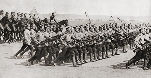 Russian Infantry Regiment Marching In Fighting Kit During World War I. From The Illustrated War News, 1914. Poster Print (21 x 11)
