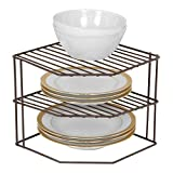 Smart Design 3-Tier Kitchen Corner Shelf Rack - Steel Metal Wire - Rust Resistant - Plates, Dishes, Cabinet & Pantry Organizer - Kitchen Organization (9 x 8 Inch) [Bronze]