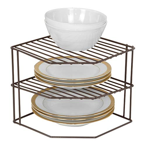 Smart Design 3-Tier Kitchen Corner Shelf Rack - Steel Wire Frame - Rust Resistant Finish - for Cups, Dishes, Cabinet & Pantry Organization - Kitchen (9 x 8 Inch) [Bronze]
