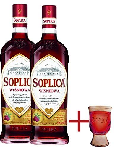 2 Flaschen Soplica Kirsch - Wisniowa 32% - 2x0.5l + Gratis Soplica Pinnchen/Schnapsglas