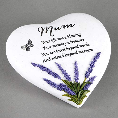 Thoughts Of You Herz Outdoor Gedenktafel mit Lavendel Design, Mum