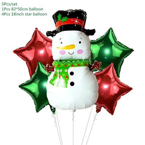 Bluecandy 5Pcs/Set Cartoon Santa Claus Snowman Foil Balloons Christmas Party Decorations Party Balloons Inflatable Helium Balloon Kids Toy-Set O-one Size