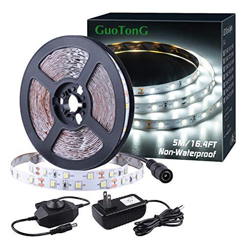 GUOTONG 16.4ft LED Strip Light, 6000K Daylight White 5m Dimmable Tape Light, 12v Ribbon Light 2835 LEDs Flexible Strip Lighting for Under Cabinet, Home, Kichen, Bedroom, Non-Waterproof